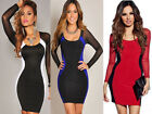 New Fall Fashion Lace Long Sleeve U-neck Slim Package Hip Sexy Lady Low-cut Dres