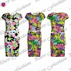 Womens Ladies Cap Sleeves Floral Print Crop Top Bodycon Midi Skirt 2 Piece Set