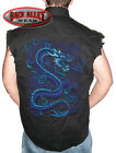 BLUE DRAGON Sleeveless Denim Shirt Biker Cut Japanese Kanji ~ Asian Art Chinese