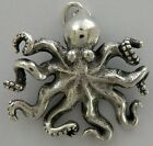 Octopus Necklace w/Charm Jewelry ~.925 Sterling Silver-Microsculptures -Nautical