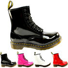 Ladies Dr Martens 1460 W 8 Eyelet Patent Lamper Military Lace Up Boot All Sizes
