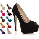 WOMENS LADIES HIGH HEEL PLATFORM PARTY PEEP TOE COURT PUMPS SHOES SIZE