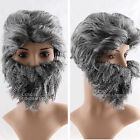 Man Masked Wig Mustache Temples Party 70s 80s Disco  Costume Fancy Smokey-grey