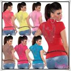 Ladies Top Sexy Womens Summer Party Clubbing Kaucla T-Shirt ONE SIZE UK 8,10,12