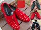 Fashion Men's Casual Faux Suede Spike Slip Ons Punk Rivet Loafer Studded Shoes