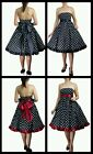 FIFTIES POLKADOT STRAPLESS SWING PARTY VINTAGE ROCKABILLY PROM EVENING DRESS N29