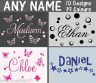 Sm Custom Name Wall Stickers 10 designs Boys Girls Personalised Butterfly star