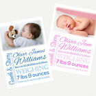 Personalised Photo Boy / Girl Birth Announcement / Thank You Cards B001
