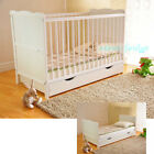 Baby Cot Bed with Drawer White Junior Toddler Bed with Deluxe Foam Mattress  <br/> Deluxe foam mattress ✔ Baby Wooden Guard ✔