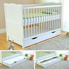 Baby Cot Bed with Drawer White Junior Toddler Bed ✔ Deluxe Aloe Vera Mattress <br/> FREE Teething Rails ✔ 3 Base Positions ✔ FREE DELIVERY