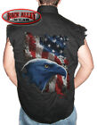 AMERICAN ICON Eagle w/ Flag Sleeveless Denim Shirt Biker Cut USA Pride Military