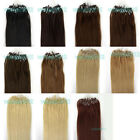 """New 18""""20""""22""""100s Loop/Micro Ring Beads Remy Human Hair Extensions More Color UK"""