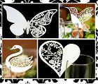 White Butterfly Heart Rose Wedding Lasercut Table Name Place Cards 10/20/50/100