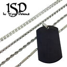 """Stainless Steel Chain And Dog Tag Plain Black Pendant Charm Assrt Necklace 24"""""""