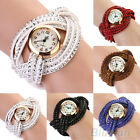 HOT LADY ROUND DIAL CRYSTAL KNITTED LEATHER BAND QUARTZ ANALOG CUFF WRIST WATCH