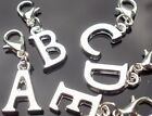 Handmade Silver Plated Alphabet Letter Initial Clip On Charms for Bracelets
