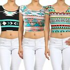 Mint Black White Red Crop Top Belly Tee Shirt Aztec Tribal
