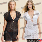 Womens Sexy Beach Swimwear Bikini Cover Up Lace Crochet V-Neck Shirt Dresses8-16