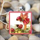 """PINK FLOWER FAIRY"" VINTAGE FAIRIES GARDEN GLASS TILE PENDANT NECKLACE KEYRING"