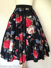 Ladies 50s 'Rockabilly  Rock & Roll Skirt  Black  Floral  John Zack s/m m/l