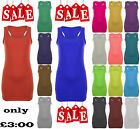 LADIES LONG SLEEVELESS BODYCON RACER BACK MUSCLE VEST TOP STRAPPY SIZE 8-14