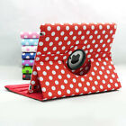 POLKA DOTS 360 ROTATING LEATHER CASE WITH STAND FITS APPLE NEW IPAD 2 3 4