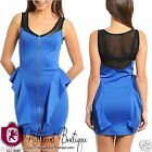 Womens Juniors Sexy Mesh Accent Textured Peplum Dress Royal Blue A850