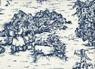 "72"" French Country Toile Nautical Blue Fabric Shower Curtain Cotton"