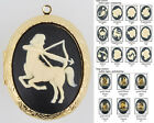 Large oval locket, zodiac & astrology sign cameos, various neck chain options