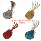 Christmas Decoration - 2 Pack Glitter clip on BIRDS - Blue Gold or Silver