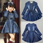 New Kids Baby Girls Casual Double-Breasted Coat Jacket Dress Denim Outwear 3-8Y