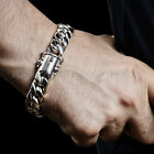 Cuban Link Mens Silver Bracelet 15mm wide - all lengths. Heavy Strong Box Clasp