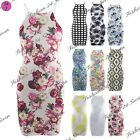 Womens Stretchy Strappy Ladies Celeb Floral Print Short Tunic Bodycon Mini Dress