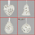 Silver Glitter & Flower Gem Christmas Tree Hanging Decorations - 4 Designs