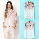 Women Summer Fashion Chiffon Floral Button Down Collar Long Sleeve Tops Blouse