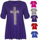 WOMENS PLUS SIZE SIZE UK (14-28) GOTHIC CROSS STUDDED CASUAL T SHIRT TUNIC TOP