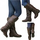 New Womens Tc2 Brown Buckle Slouchy Riding Knee High Boots Sz 5 To 10