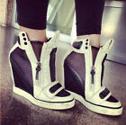 Womens Velcro Platform Wedge Heel Athletic High Heels Sneakers Shoes Ankle Boots