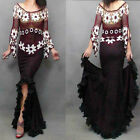 Lady Cowboy fishtail Long Large pleated lace  Buttocks Skinny Frayed Skirt Dress