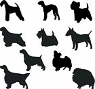 DOG GROOMING VINYL DECAL STICKER SETS OF 10 OR 20  BREEDS  COLOURS VAN BATH WALL