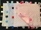 BABYS COMFORTER TAG BLANKET PINK,BLUE,WHITE CREAM SOFT TOUCH SATIN BACK
