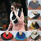 Mens Women Winter Warm Infinity 2 Circle Cable Knit Cowl Neck Long Scarf Shawl