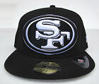 SF 49ers Black On White Big Logo All Sizes Fitted Cap Hat by New Era