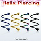 "16G Titanium Anodized ""TRIPLE SPIRAL TWISTER"" For Helix Piercing w/ 3 mm Balls"