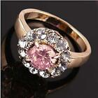 Pretty 18K gold plated round zircon cut crystal woman ring gift size 7,8,9