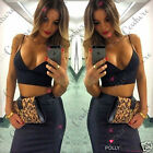 Womens Fitted Deep Plunge V Neck Celeb Couture Cropped Bralette Bralet Body Top