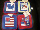 POTHOLDERS ALL AMERICAN  4 DIFFERENT DESIGNS COTTON-RED-WHITE-BLUE