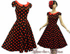 New H&R VTG 1940's 50's style Black Red Polka Dot Rockabilly Party Prom Dress