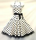 New Ladies Vtg 1950's style White Black Polka Dot Pin-Up party Prom Swing Dress
