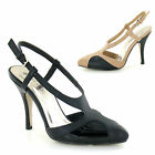 Ladies Womens High Stiletto Heel Closed Toe Sling Back Sandals Court Shoes Size